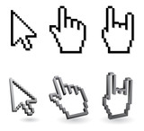 pixel cursor - arrow and hand 3d