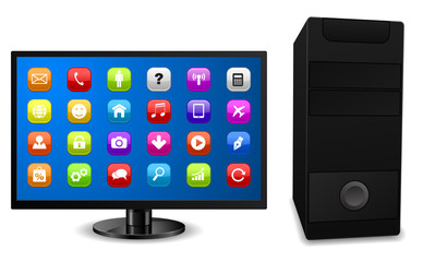 3d desktop computer apps vector icon
