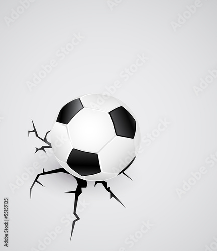 soccer ball on cracked surface - abstract background 3d