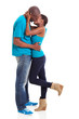 young afro american couple kissing