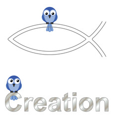 Creation text and birds