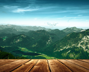 Fantastic landscape from a viewpoint in the mountains