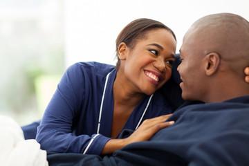 cute afro american couple flirting