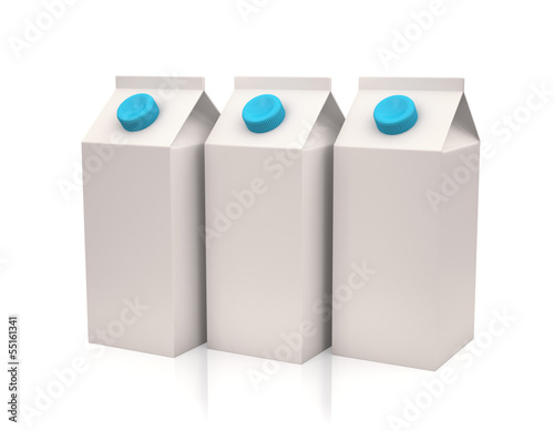 White milk or juice carton boxes