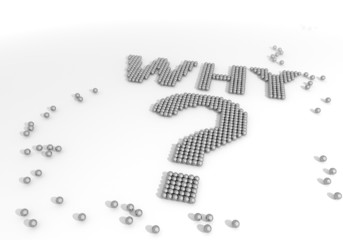 3d render of a arranged why label made of tiny spheres