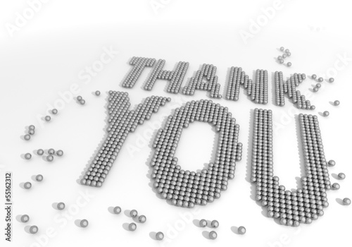 3d render of a arranged thank you symbol made of tiny spheres