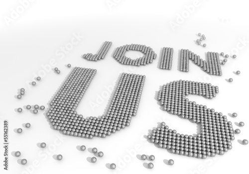 Illustration of a bold join us symbol made of tiny spheres
