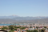 A scenic view Fethiye housing in Turkey with mountains poster