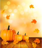 Fototapety Pumpkins on wooden background with leaves. Autumn background. Ve