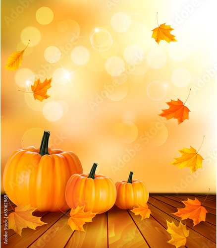 Pumpkins on wooden background with leaves. Autumn background. Ve