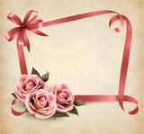 Retro holiday background with pink roses and ribbons. Vector ill