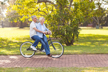 mature couple enjoying bicycle ride