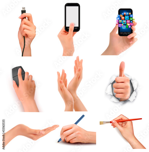 Set of hands holding different business objects.Vector