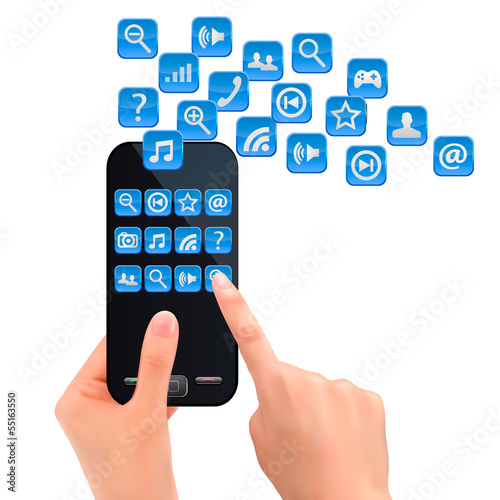 Hand holding mobile phone with icons. Vector.