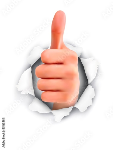 Hand with thumb up through a hole in ripped paper. Vector