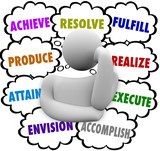 Thinker Thought Clouds Achieve Accomplish Envision Resolve poster