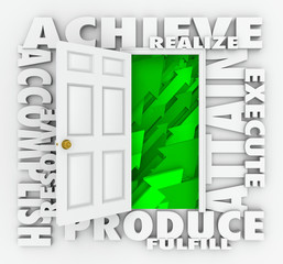 Achieve Word Door Accomplish Goals Successful Mission