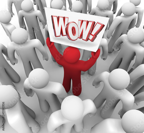 Man Holding Wow Sign in Crowd Suprise Customer Satisfaction