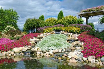 country waterfalls in rock garden