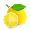 Lemon with green leaf isolated on white background.