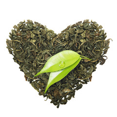 Green tea heart shape with leaf isolated on white background