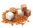 canvas print picture - Brown and white cane sugar cubes isolated.