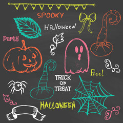 Halloween hand drawing doodles. Vector illustration