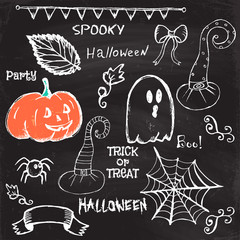 Halloween hand drawing doodles. Vector illustration
