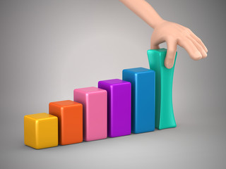 3d render of bar graph and a hand pulling it up