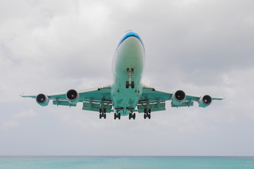 ST MARTIN, ANTILLES - JULY 19, 2013: Boeing 747 aircraft in is l