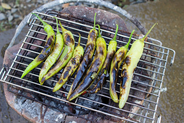 Grilled peppers on the stove.