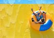 Young kid havving fun at aqua park - 55167595