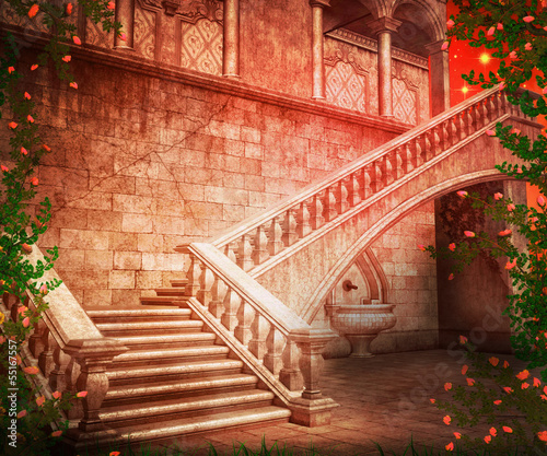 Stairs Castle Fantasy Backdrop