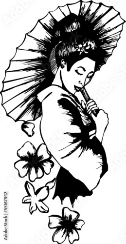 illustration of japanese girl wearing traditional dress  tattoo
