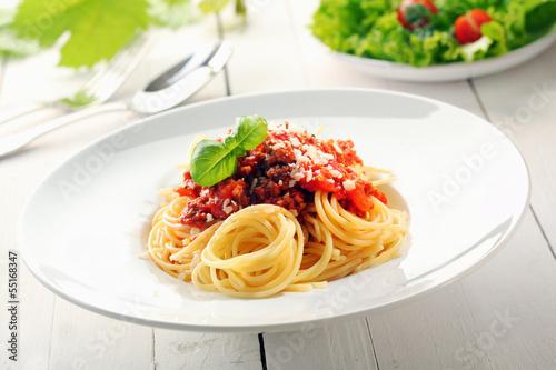 Papiers peints Table preparee Spaghetti bolognaise