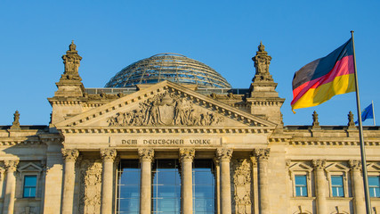 Facade of the Reichstag in Berlin, Germany