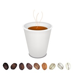 Row of Beans Under A Coffee Disposable Cup