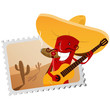 Postage stamp with funny chili pepper