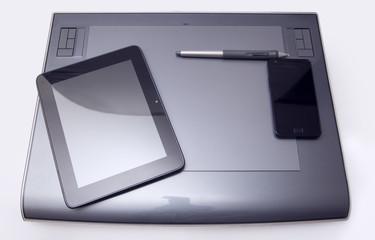ufficio - tavoletta grafica, tablet, smartphone