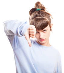 girl thumb down on a white background