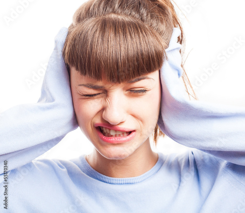 girl in a noisy place on a white background