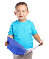 child holding a blue notebook on white backgroud