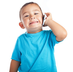child calling by mobile with a white background