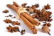 Cinnamon stick, anise, nutmeg and cloves on white background