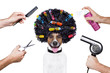 canvas print picture - hairdresser  scissors comb dog spray