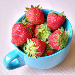 Delicious strawberries in a cup, healthy fruit snack