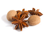 Anise and nutmeg isolated on white background
