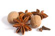 Anise, nutmeg and clove isolated on white background
