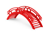 Closeup 3d Red Wooden bridge