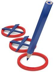 mit Stift angekreuzt
